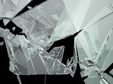 Pieces of demolished or Shattered glass isolated