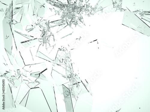 Fototapeta Pieces of demolished or Shattered glass on white