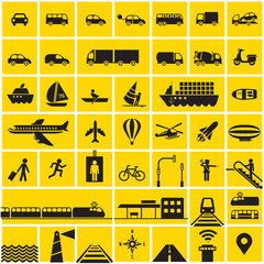 Traffic icons set - road, rail, water, air symbols