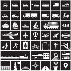 Traffic icons set - road, rail, water, air symbols / black