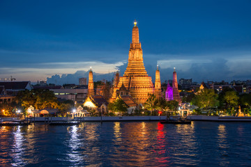 Wat Arun Temple in sunset in Bangkok Thailand