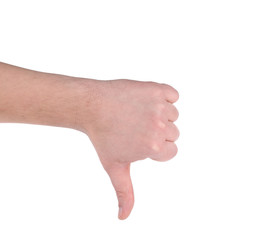 Thumb down male hand sign.