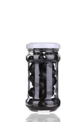 Black olives in a jar.