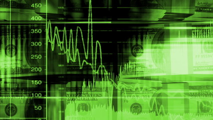 Money and graphs geometric looping animated background in green