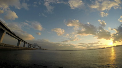Timelapse of sunset ocean view and Gate Bridge