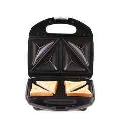 Sandwich maker with bread.