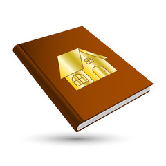 brown home book with gold building 3d icon house