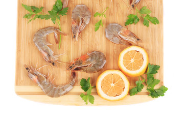 Fresh shrimps with parsley.