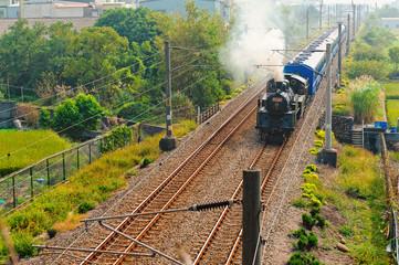 steam train on the rail in Taiwan