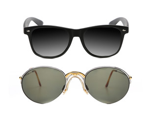 Two pair of fashionable sunglasses.