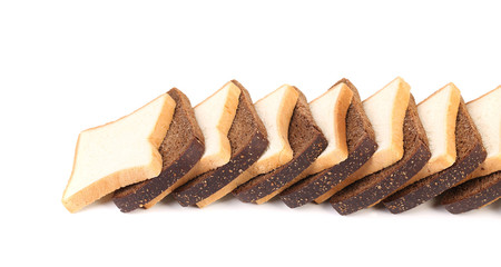 Row of sliced white and black bread.