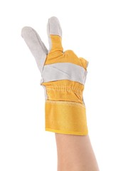 Gloved hand showing two finger.