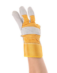 Gloved hand showing three finger.