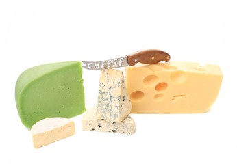 Various cheese types with knife.