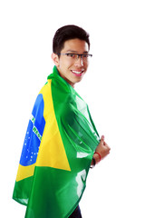 Handsome asian man with brazilian flag
