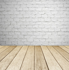 White brick wall and wooden floor, empty perspective room.