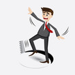 cartoon businessman falling in hole