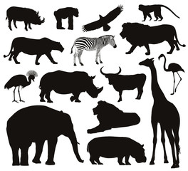 Animals silhouettes set. Vector illustration. EPS 8