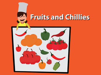 special recipe, fruits and chillies. concept vector illustration