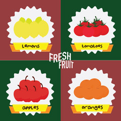 fresh fruits. concept vector illustration