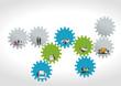 business people over colorful machine gear wheel. Cogwheel.