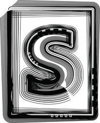 Striped font LETTER s