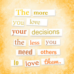 Quote anonymous letter style about decisions