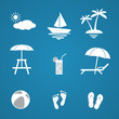Summer icons set. Vector Illustration