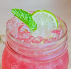 Pink lemonade juice cocktail