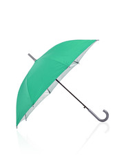 open green umbrella isolated on white background