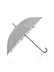 open grey umbrella isolated on white background