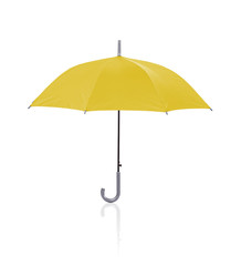 open yellow umbrella isolated on white background