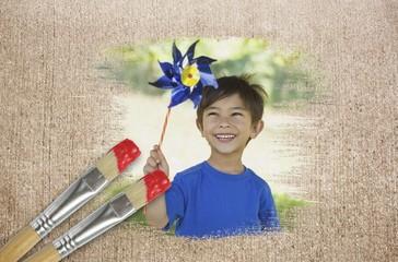 Composite image of little boy with pinwheel