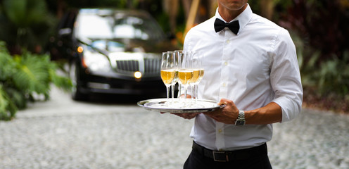 Black tie and champagne