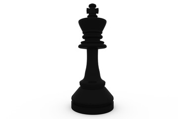 Digitally generated black king standing alone