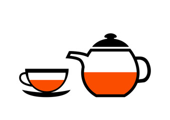 Teacup and teapot on white background
