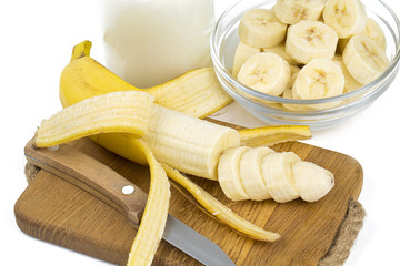 sliced banana and milk