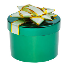 closed green box with cover decorated by foil knot