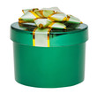 closed little round green box with decorated cover