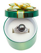 open green box with black pearl in white gold ring