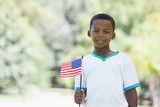Little boy celebrating independence day in the park - Fine Art prints