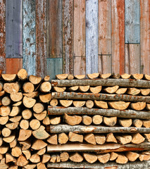 Stacked firewood colorful batten wall
