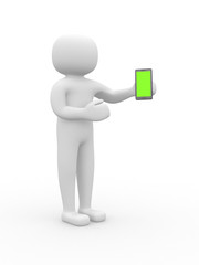 3d white people with a smartphone, isolated white background.