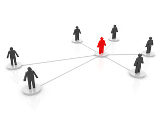 illustration of a person connected to different persons