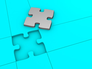 Puzzle on blue background. This is a 3d render