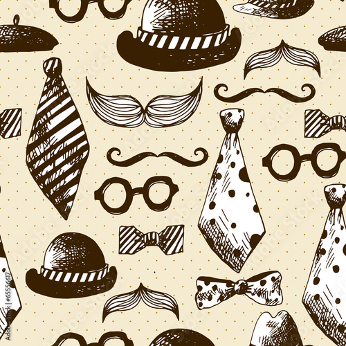 Hand Drawn Hipster Seamless Background - 65556617