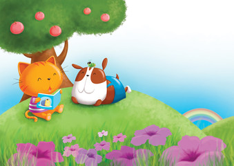 Cat, dog and grass hopper reading a book under the tree