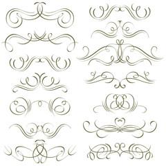 calligraphy decorative borders, ornamental rules, dividers, vect