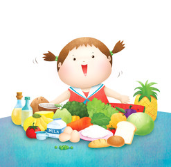 Little girl love  five food group illustration