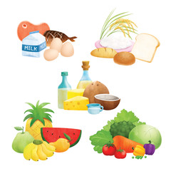 Five food group illustrations